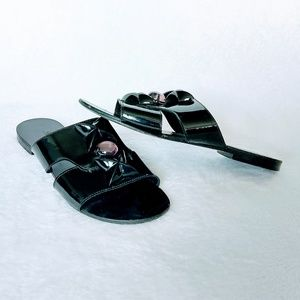 Robert Clergerie patent leather slide sandals